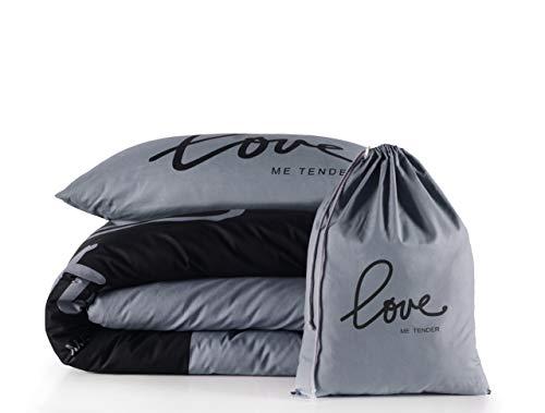 2 tlg. Renforcé Bettwäsche Set   Bettdeckenbezug 135x200 cm, mit Kopfkissenbezug 80x80 cm   LOVE ME TENDER   Grau - Schwarz   2 teilig Bettgarnitur   Baumwolle Bettbezug mit Reißverschluss OEKO-TEX
