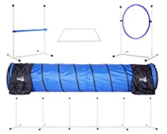 """Featuring a 26"""" wide adjustable bar jump, an adjustable tire jump that is 24"""" in diameter, 6 fixed base weave poles, a 10' long tunnel with 4 sandbags, and a pause box Excellent training tool! Agility training strengthens the bond and increases the i..."""