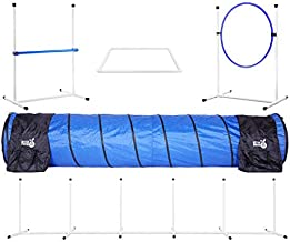Better Sporting Dogs Complete Starter Agility Set for Dogs | 5 Piece Dog Agility Kit | Agility Jump | Tire Jump | Weave Poles | 10' Tunnel with Sandbags | Pause Box