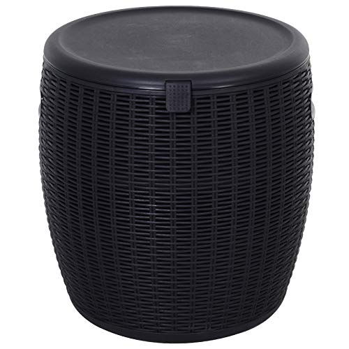 Outsunny 45L Outdoor Patio Rattan Effect Cooler Wicker Knit Round Stool Bar Table Garden Furniture Bucket - Black