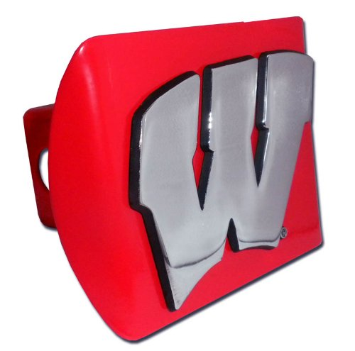 """University of Wisconsin Badgers Red with Chrome """"W"""" Emblem NCAA College Sports Trailer Hitch Cover Fits 2 Inch Auto Car Truck Receiver"""