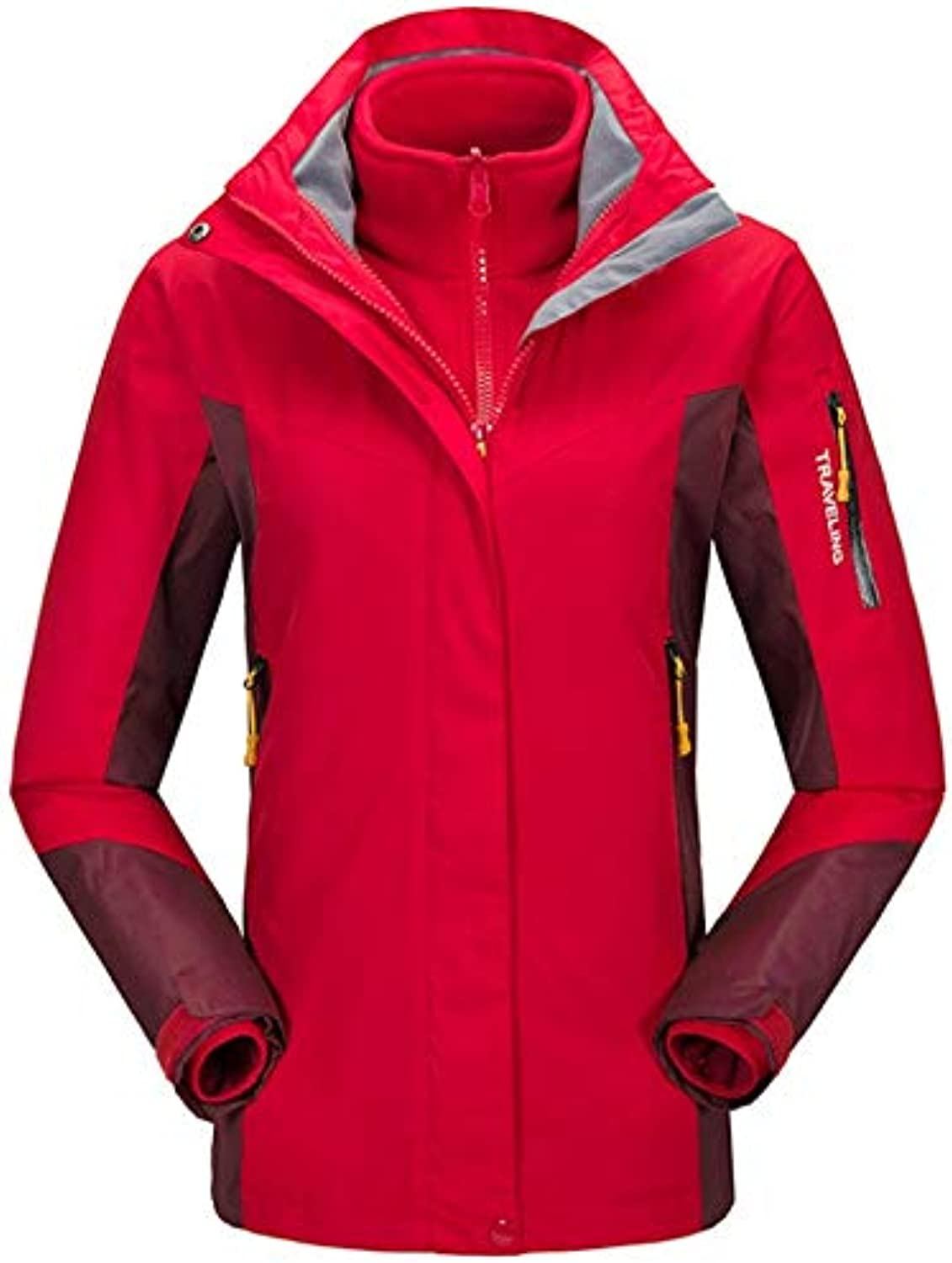 CEFULTY Winter Ladies Outdoor Service Jacket Threeinone TwoPiece Windproof Breathable Sports Mountaineering (color   03, Size   L)