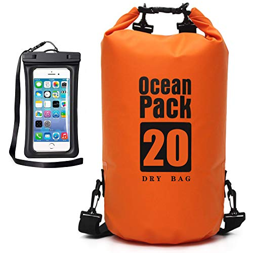 MR.LION Floating Waterproof Bag Sack - Dry Bag Kayaking Camping 10L 20L 30L Roll Top Keeps Your Gear Dry While Rafting Boating at Beach and Fishing with Free Waterproof Phone Case (Orange, 10L)