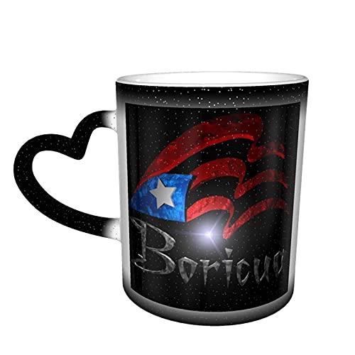 maichengxuan Taza de café unisex de viaje Puerto Rico personalizada sensible al calor color cambiante taza taza de té de leche tazas de café mágicas