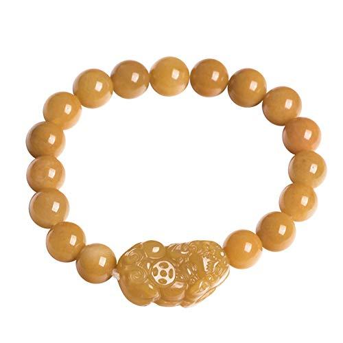 DFGHJH Feng Shui Buena Suerte Pulseras para Hombre/Mujeres Natural Xinjiang Golden Silk Jade Pixiu/Piyao Crystal Universal Ajustable para la Buena Fortuna Valgoush Lucky Wealth,10mm