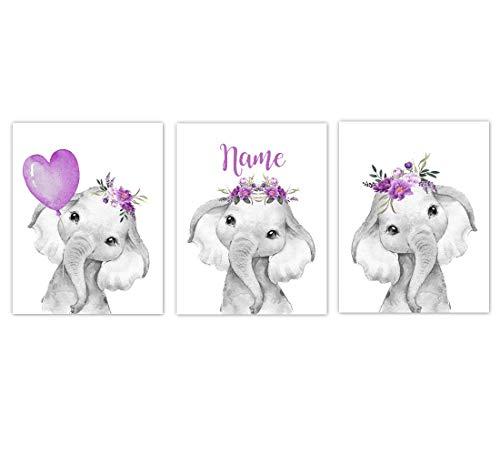 Baby Girl Nursery Art Purple Elephants Watercolor Flowers Personalized Wall Decor 3 UNFRAMED PRINTS