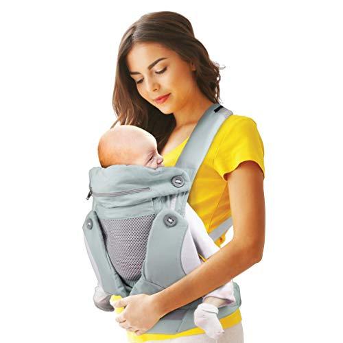 Myrolab Marsupio Neonati Ergonomico Fascia Zaino Porta Neonato Bambino Bebé Baby Carrier Elevato Confort Multifunzione Comodo Traspirante E Varie Posizioni Di Impiego Regali Utili Per Neonati Grigio