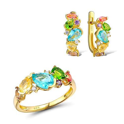 AdronQ® Conjunto de Joyas de Plata para Mujer Fancy CZ Glass Unique Delicate Ring Earrings Set 925 Sterling Silver Fashion Jewelry