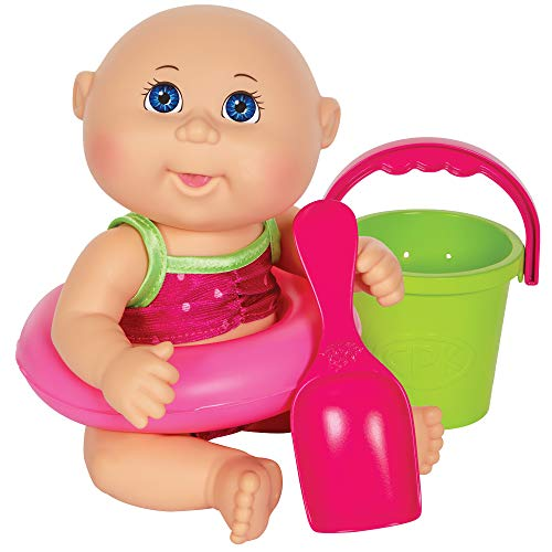 Cabbage Patch Kids Beach Time Tiny Newborn with Pink Toy Floatie, Pail and Shovel and Watermelon Swimsuit - 9 Inch CPK Dolls - Grow Your Cabbage Patch - Play in Or Out of Water