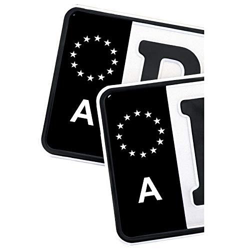 2 x Kennzeichen EU Feld Nummernschild Aufkleber Folie KFZ Schwarz (R059 Österreich)