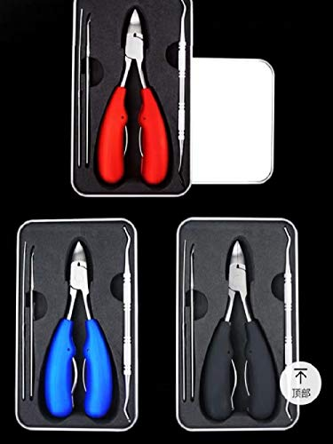Juego de cortaúñas Cortar uñas de los pies gruesas Cortar incrustaciones de pedicura Cortaúñas Boca de águila-Rojo juego de tres piezas
