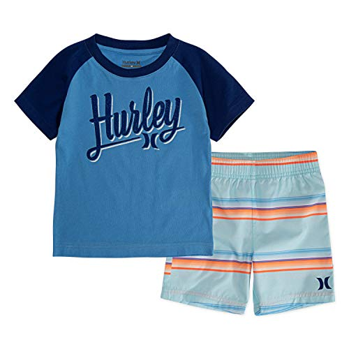 3T Fountain Blue Hurley Baby Boys Toddler Swim Suit 2-Piece Outfit Set