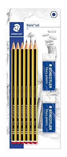 Staedtler Noris 120, Crayons à papier HB en bois de haute qualité, Étui blister de 6 crayons HB et 2 gommes originales Mars Plastic, 120 R BK6D