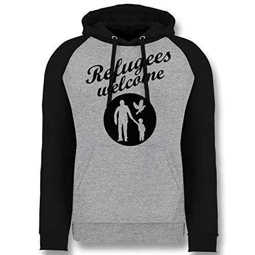 Shirtracer Statement - Refugees Welcome - M - Grau meliert/Schwarz - Refugees Welcome Pullover - JH009 - Baseball Hoodie