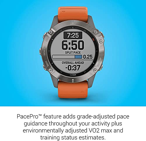 Garmin Fenix 6 Sapphire, Premium Multisport GPS Watch, features Mapping, Music, Grade-Adjusted Pace Guidance and Pulse Ox Sensors, Dark Gray with Orange Band (No-Cost EMI Available)