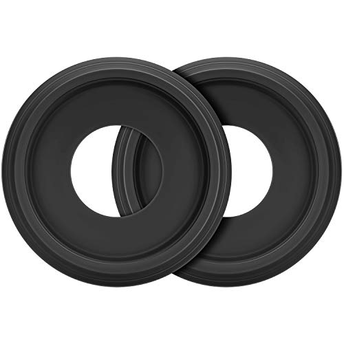 """Canomo 2 Packs Molded PU Ceiling Medallion for Light Fixtures and Ceiling Fans, 10""""OD x 4""""ID, Matte Black"""