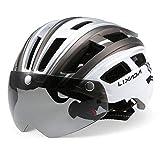 Lixada Adult Bike Helmet,Mountain Bike Helmet with Detachable Visor,Goggles Ultralight Adjustable MTB Cycling Bicycle Helmet Sports Safety Protective Helmet for Men&Women