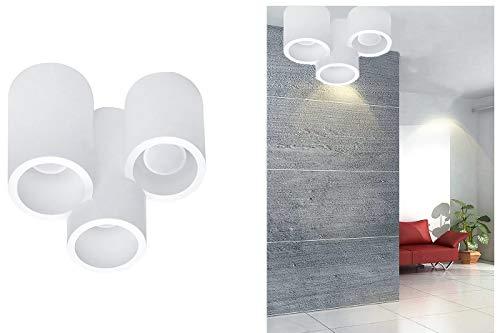Plafoniera gesso lampada da interno applique da soffitto 3 cilindri gu10 GS-5026