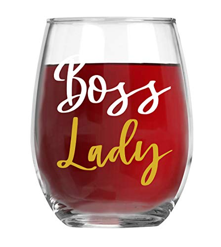 Boss Lady 15oz Wine Glass for Women - Funny Unique Office Gift Idea for Girl Boss, Boss Babe, Women Bosses, Lady, Female, Office, Appreciation Perfect Birthday Gifts for The Office - By AW Fashion