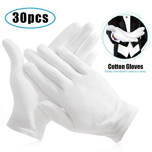 O-Kinee 15 Paar Weiße Handschuhe Baumwolle, Stoff Handschuhe Weiss, Baumwollhandschuhe, Bequem und Atmungsaktiv, für Schmuck Untersuchen, Tägliche Arbeit