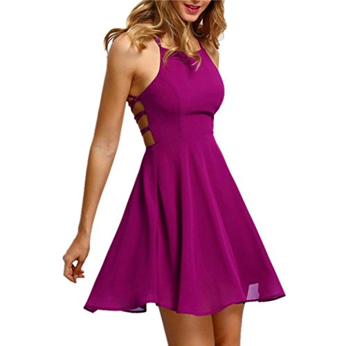 Binggong Kleid Damen, Frauen Mode Party Cocktail Backless Bandage ärmelloses Versuchung Minikleid Kurze Brautjungfern Party Kleid (Sexy Pink, S)