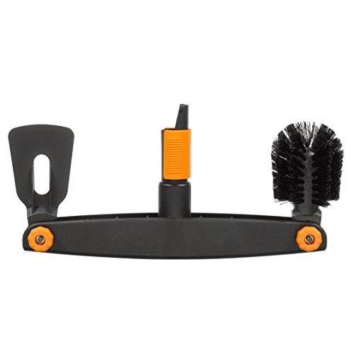 Fiskars Dachrinnenreiniger mit individuell einstellbarer Bürste und Schaber, Breite: 4,5 cm, Schwarz/Orange, QuikFit, 1001414