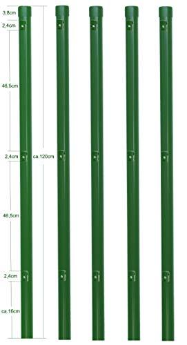 5 Metallpfosten Zaunpfahl aus Metall Ø 34 mm 1200mm lang für 1,0m hohe Metall Zaunanlage aus Maschendrahtzaun in grün RAL 6005. Mit 3 vormontierte Spanndrahthalter und Pfostenkappe.