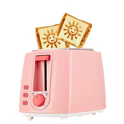 ACOMG Edelstahl-elektrischer Toaster-Haushalts-automatisches Brotbacken, schnelle Heizungs-Brotmaschine, Mehrfarbenwahlweise freigestellt, mit einem Smiley-Gesichts-Muster,Pink