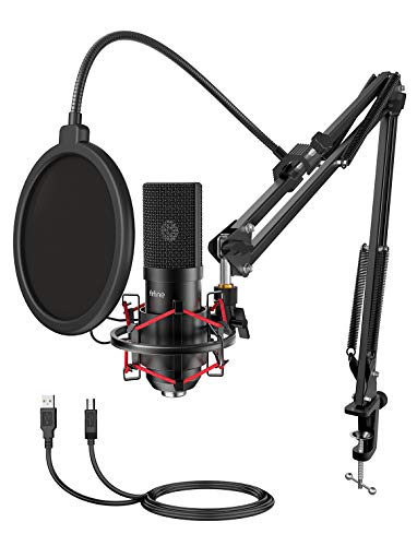 FIFINE USB Gaming Microphone Set with Flexible Arm Stand Pop Filter, Plug and Play with PC Desktop Laptop Computer, Streaming Podcast Mic Kit for Home Studio (T732)