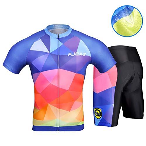 Conjunto de ropa de ciclismo para hombre, transpirable, de secado rápido, manga corta, traje de ciclismo + mallas acolchadas de gel 3D, para verano, ciclismo de carretera y ciclismo, color C, tamaño medium