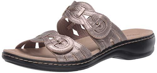 Clarks Women's Leisa Charm Slide Sandal, Pewter Metallic Leather, 5.5