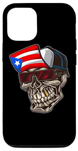 iPhone 12/12 Pro Cool Puerto Rican Skull With Cap And Puerto Rico Flag Case