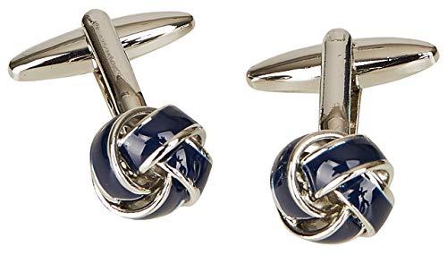 Wilvorst Manschettenknöpfe, Knotenform, silberfarben mit Blauer Einlage