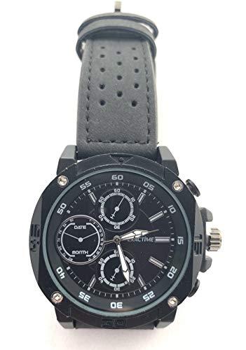 EXACTIME Reloj Analógico Esfera en Negro Pulsera de Resina Negra Hombre Acero Inoxidable Water Resistant Japan MOV