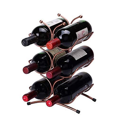 DJY-JY Soporte para 6 botellas de vino, soporte para botellas de vino, estante de almacenamiento de hierro, para sala de estar, cocina, hogar, hierro