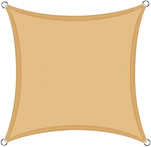 Cool Area Tenda a Vela Quadrata 5 x 5 Metri, Vela Ombreggiante Impermeabile Protezione Raggi UV per Giardino Balcone Terrazza, Sabbia