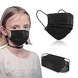 100PCS Kids Face Masks Black Face Masks, Disposable 3-Layer Protection Safety Face Masks for Kids.