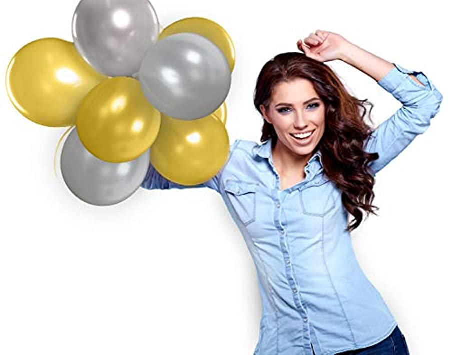 Treasures Gifted Silver and Gold Metallic Latex Balloons for Birthday Anniversary Graduation Bachelorette Party Decorations