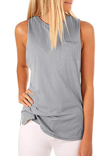 Women's High Neck Tank Top Sleeveless Blouse Plain T Shirts Pocket Cami Summer Tops Gray