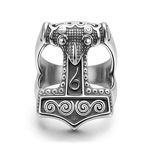 PuuuK Anillo del Martillo de Acero Inoxidable Cuervo del Mjolnir de Thor Dioses Vikingos Nórdicos Vikingos Anillo de Los Hombres,11