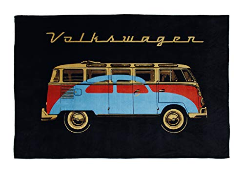 BRISA VW Collection Volkswagen T1 Bulli Bus & Käfer Fleecedecke 150x200cm - Schwarz