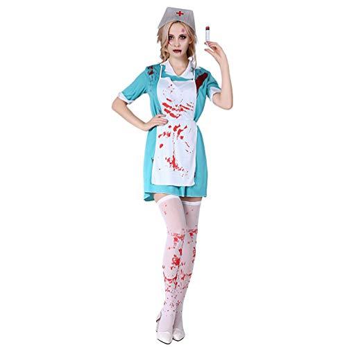 YuanDian Halloween Kostüme Schminke Horror Teufel Sensenmann Verkleidung Gruselige Zombie Kostüm Outfit Sets Cosplay Fasching Karneval Einfache Kostüme 20# Grusel Weiblich Arzt 160-175cm