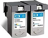 Ink E-Sale Remanufacturado PG-37 CL-38 para Cartuchos Canon 37 38 Compatibles con Pixma iP1800 iP1900 iP2500 IP2580 iP2600 MP140 MP190 MP210 MP220 MP470 MX300 MX310,1 Negro 1 Tricolor