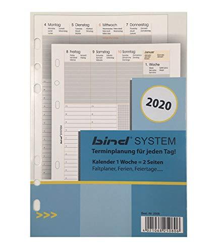 bind B250820 - Kalendereinlage für Wochenkalender A5 - Jahr 2020, 1 Woche / 2 Seiten, Terminkalender mit System