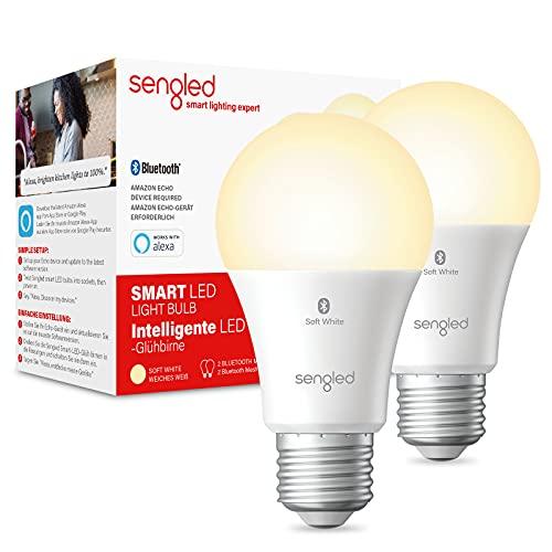 Sengled Ampoule Connectée Alexa, Smart Bulb, Ampoule Led E27 Compatible Bluetooth, Ampoule Intelligente Echo Dot, Contrôle à Distance Commande Vocale Dimmable, Blanc Chaud 2700k, 60W 806LM, Pack de 2