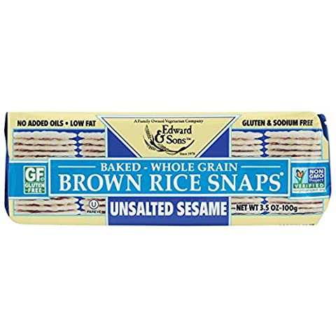 Brown Rice Snaps, No Salt Sesame, 3.5-Ounce Packs (Pack of 12) - Sale: $31.39 USD (13% off)