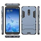 Ycloud Rüstung Hülle für Meizu 15 Plus Smartphone, Dual Layer Hybrid Heavy Duty Harte PC Handyhülle mit Ständer stoßdämpfend Rückseite Hülle (Blau Grau)