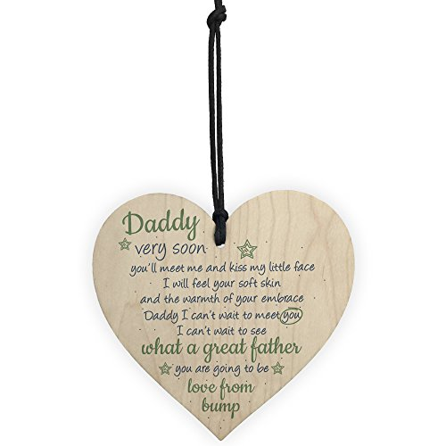 RED OCEAN Handmade Wooden Heart From Bump Gifts Dad Daddy To Be Father Baby Son Daughter Card