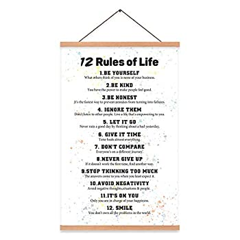 """KAIRNE 12 Rules of Life Inspirational Quote Art Print with Wood Poster Hanger Framed Watercolor Motivational Hanging Wall Art,15.8""""X25"""" Positive Canvas Painting for Home,Office,Classroom Decor"""