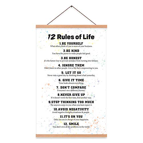 """KAIRNE 12 Rules of Life Inspirational Quote Art Print with Wood Poster Hanger Framed, Watercolor Motivational Hanging Wall Art,15.8""""X25"""" Positive Canvas Painting for Home,Office,Classroom Decor"""